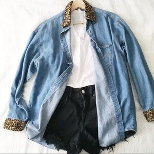 Vintage Chambray With Leopard Print Trim